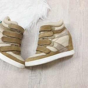 Aldo Shoes - Aldo Gold Brown Velcro Strap High Ankle Sneakers